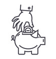hand put coin in pig bank line icon sign vector image vector image