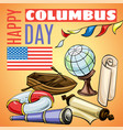 happy columbus day concept banner cartoon style vector image