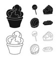 isolated object of confectionery and culinary vector image vector image