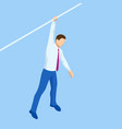 isometric businessman tightrope walker is on the vector image vector image
