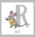 letter r vocabulary rat holding cheese