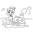 little boy with a boat coloring page vector image vector image