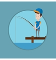 Man fishing on jetty vector image vector image