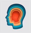 man head mind thinking symbol paper cut vector image vector image