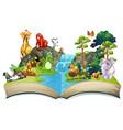 many animals waterfall vector image vector image