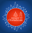 merry christmas design with gift box in circle vector image