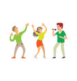 music singer and people dancing in club isolated vector image vector image