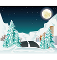 Night Winter Road to City2 vector image vector image