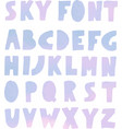 paper cut font with sky texture vector image