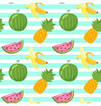 pattern with pineapple watermelon vector image vector image