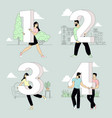 people holding number signs vector image vector image