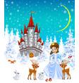 princess castle animals winter vector image