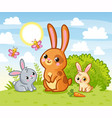rabbits are sitting in a green meadow hares eat vector image