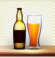 realistic bottle and glass with cold beer vector image vector image