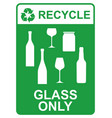 recycle sign - glass only vector image vector image