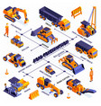 road machinery isometric flowchart vector image