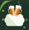 saint patrick beer jar with clover leaf vector image vector image