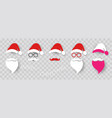 santa claus fashion hipster style set icons vector image vector image