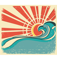 sea wavesVintage of nature poster with sun on old vector image vector image
