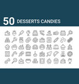 Set 50 desserts candies icons outline thin