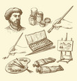 set hand drawn artists stuff vector image vector image