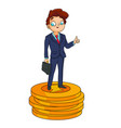 successful man with a briefcase stands on a pile vector image