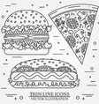 thin line icon pizza hot dog and burger For web vector image vector image