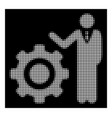 white halftone engineer and gear icon vector image vector image
