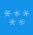 white snowflakes on blue background - set of vector image