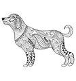 zentangle dog print for adult coloring page vector image