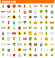 100 farm icon set flat style vector image