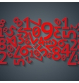 Abstract red random digits with shadows on dark vector image