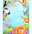 african animals zoo in jungle kids fun party vector image vector image
