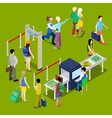 airport security and isometric people with baggage