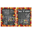 back to school special sale offer poster design vector image vector image