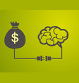 brain is connected to a bag with money motivation vector image vector image