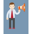 Businessman talking into a megaphone vector image
