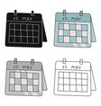calendar icon in cartoon style isolated on white vector image vector image