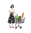 cartoon female with shopping cart full products vector image