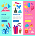 cartoon party holiday banner vecrtical set vector image