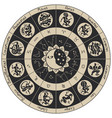 circle of zodiac signs in an antique style vector image vector image