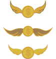 coins with wings vector image vector image
