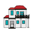 colorful image cartoon facade modern house style vector image vector image