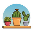cute kawaii cactus and succulent cartoon vector image vector image