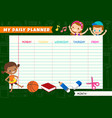 daily planner with cute kids cartoon characters a vector image vector image