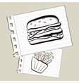 doodle burger and fries on notepad paper vector image vector image