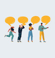 few people with speech bubbles on dark vector image vector image