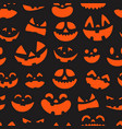 halloween pumpkin faces seamless pattern vector image vector image