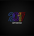 Happy New Year 2017 Text Label Design Background vector image