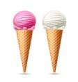 ice cream waffle cone vanila strawberry vector image